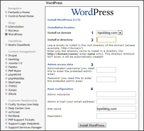 Install WordPress 1/3
