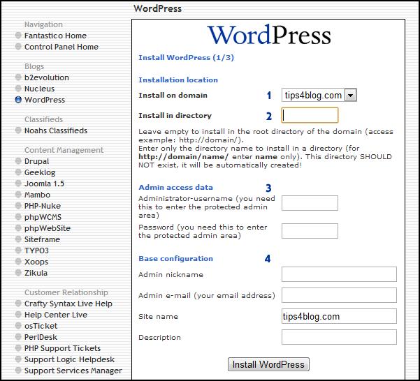 Install WordPress 1/3