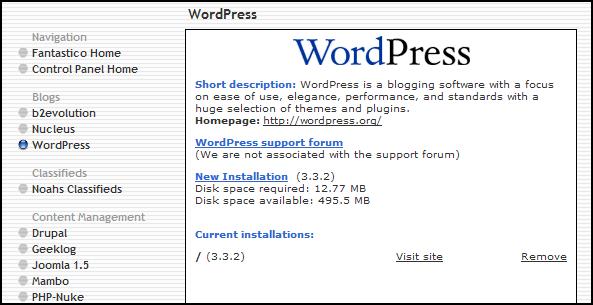 WordPress Installation with Fantastico