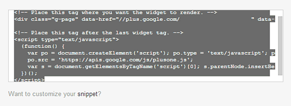 google badge code snippet