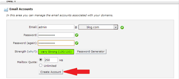 cpanel manage email account