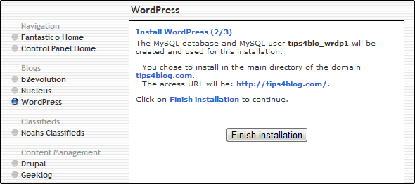 Install WordPress (2/3)