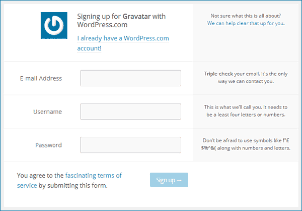 Gravatar sign up