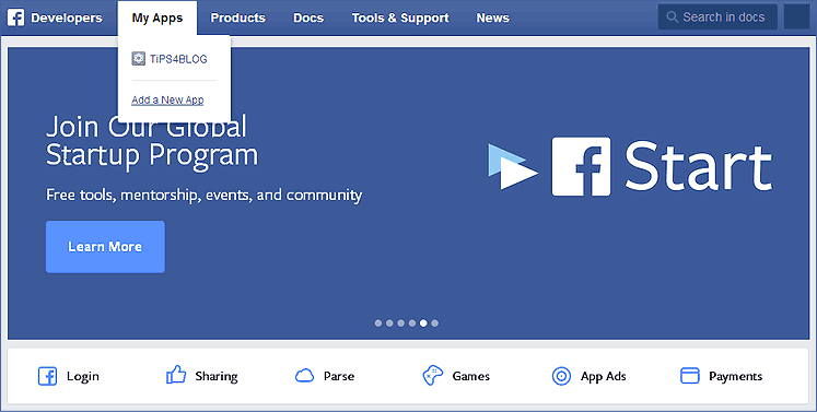 facebook create apps